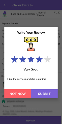 Rating Review for Vendors